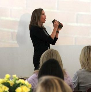 """Michelle Kriebel, a parenting expert, presenting the """"Top Ten Parenting Do's and Don'ts""""."""